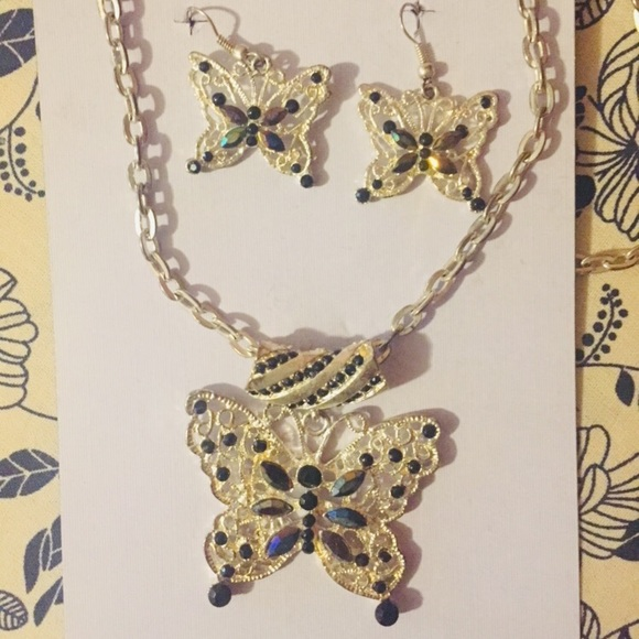Set of Butterfly Necklace and Earrings